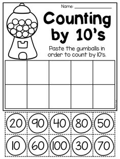 Counting by 10's worksheet. Kindergarten place value pack. This packet is jammed full of worksheets to help your students practice place value and number order. It includes 31 engaging worksheets which provide students practice with tens and ones, base-ten blocks, number order, skip counting, comparing numbers and so much more! It is perfect for whole-class activities, math stations, fast finisher activities, homework and review.