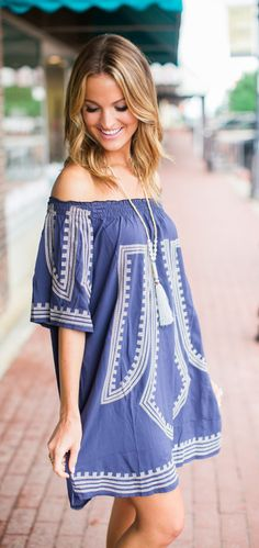 This bohemian dress is just so chic! Enhanced with cross-stitch embroidery and touched with ruffled elastic off-shoulder, this breezy dress looks as cheerful as the blooms this spring!Let your hair hang down and put the top back on the convertible in this pretty design! @laurenkaysims