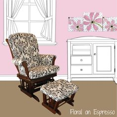 Cotton Tale Girly Glider in Floral on Espresso. http://www.cottontaledesigns.com/collections/nursery-gliders/products/girly-sleigh-nursery-glider FREE SHIPPING!