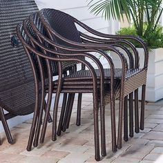 You can never have enough chairs. These are ideal for small and large gatherings. Apartment Porch, Stacking Chairs, Dining Sets, Patio Dining, Small Spaces, Furniture, Home Decor, Home, Dinner Sets