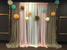 Taupe, Blush, and White straight hang pipe and drape backdrop for Noah's Arc themed baby shower. Baby Shower Themes, Baby Shower Decorations, Pipe And Drape Backdrop, Noahs Arc, Wedding Draping, Sweetheart Table, Flower Wall, Silk Flowers, Neutral Colors
