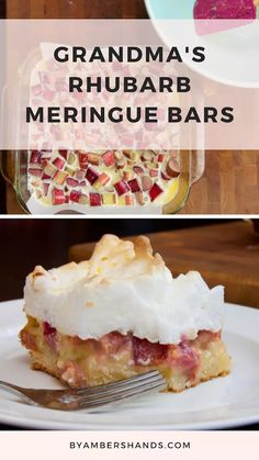 Rhubarb Meringue Bars -- {My Grandma's Recipes} Meringue Desserts, Rhubarb Desserts, Rhubarb Cake, Rhubarb Recipes, Köstliche Desserts, Fruit Recipes, Sweet Recipes, Baking Recipes, Grandma's Recipes