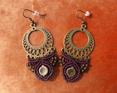 Macrame pixie earrings Purple brown linen thread Brass