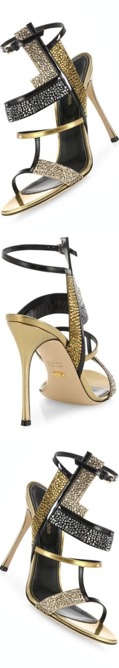 Sergio Rossi Tamara Swarovski Crystal & Leather Sandals