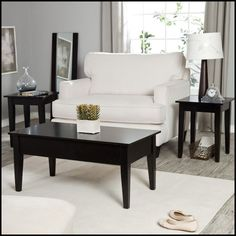 3pc Black Modern Wooden Lift Top Coffee End Table Set Furniture Home Living Wood #Traditional