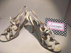 Leather Snake Pattern Slingback Heels
