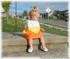 Candy Corn Pillowcase Dress - {The Ribbon Retreat Blog}