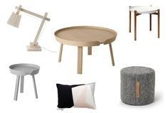 1. Muuto Table Lamp 2. Muuto Around Oak Coffee Table 3. Bjork Dark Grey Wool Ottoman 4. Muuto Around Small Grey Coffee + Side Table 5. Abstract One Cushion 6. Tablo Tray Table- Design House Stockholm