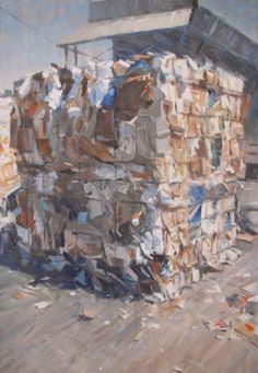 #1510 paper bale, oil on canvas, 100x70cm