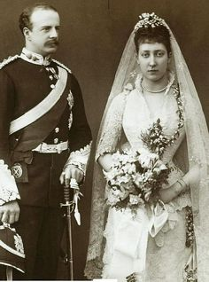 British Royalty: The Princess Louise (eldest daughter of Edward VII) and John Campbell, the Marquess of Lorne, later the Duke of Argyle, on their wedding day in 1889. Louise was allowed to marry this British aristocrat instead of a foreign royal. The British public were tired of losing their lovely princesses to foreign princes.