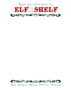 Free Printable Letterhead For Your Elf On The Shelf Christmas Elf Letters Elf On The
