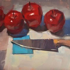 """Daily Paintworks - """"At the Knife Museum"""" - Original Fine Art for Sale - © Carol Marine Apple Painting, Food Painting, Knife Painting, Painting Canvas, Apple Art, Still Life Oil Painting, Art Story, Small Paintings, Oil Paintings"""