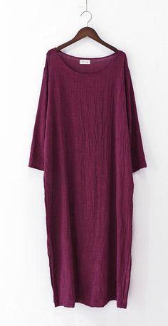 Burgundy long sleeve linen dresses fall winter linen clothing