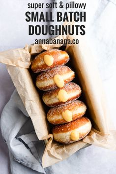 Enjoy your own, homemade small batch doughnuts with this recipe from Anna Banana. It makes 6 perfectly soft and pillowy doughnuts covered in crispy sugar coating. They can be filled with your favourite cream, sauce or curd, and each bite you take will melt in your mouth! #doughnuts #dessert