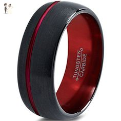 Tungsten Wedding Band Ring 4mm 6mm 8mm 10mm for Men Women Red Black Domed Brushed Polished Offset Line FREE Custom Laser Engraving Lifetime Guarantee - Wedding and engagement rings (*Amazon Partner-Link)