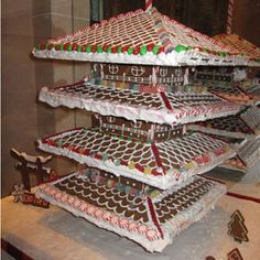 Toji Tower  Japanese dessert bar Kyotofus contribution to Le Parker Meridiens 2012 gingerbread collection is this version of Toji Tower, a Buddhist temple in Kyoto, Japan. The temple has a five-story pagoda and its the highest wooden tower in Japan. delish.com