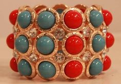 Gold Turquoise and Coral Bracelet from Southern Jewelry Auctions on Facebook!