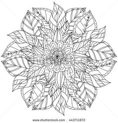 contoured mandala shape flowers for adult coloring book in zen art therapy style for anti stress drawing. Hand-drawn, retro, doodle, vector,…