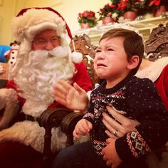 A #FutureBear at Christmas on 5th at #Baylor. Sometimes Santa can be a little scary...
