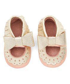 Look at this Just Couture Pink & Gold Eyelet Bow Moccasin on #zulily today!