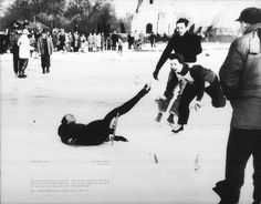 Photo Title  Hard Spill  Photographer/Creator  Edward C. Nold  Collection  1948  Publisher  Detroit Times  Caption/Description  This heart-breaking spill occurred during the Detroit Times Golden and Silver Skates meet. The fallen racer led the group until he was within five feet of the goal line. When he hit the ice the baton slipped from his grasp. He finished in third place.