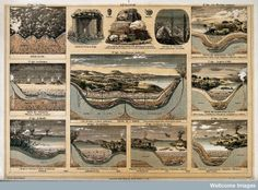 Geology: the ages of the Earth and details of types of stone. Lithograph by Bethmont, 1911