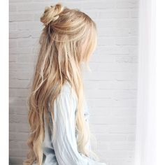 Half-up Boho Braided Bun Hair Tutorial ❤ liked on Polyvore featuring beauty products, haircare, hair styling tools, hair, hairstyles, hair styles, beauty and filler