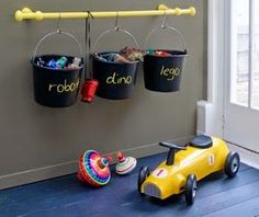 Kids storage - cute toy storage idea for the boys Kids Storage, Storage Room, Toy Storage, Storage Ideas, Storage Buckets, Playroom Storage, Playroom Ideas, Bathroom Storage, Childrens Room