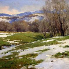 Winter's Release by Clyde Aspevig at Simpson Gallagher Gallery Winter Landscape, Landscape Art, Landscape Paintings, Painting Snow, Winter Painting, Clyde Aspevig, Wow Art, Western Art, Winter Scenes
