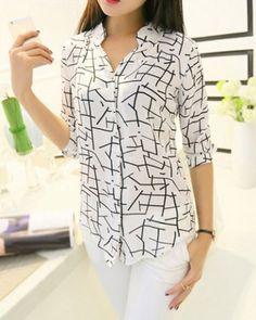 Stylish V-Neck 3/4 Sleeves Printed Blouse For Women Blouses | RoseGal.com Mobile