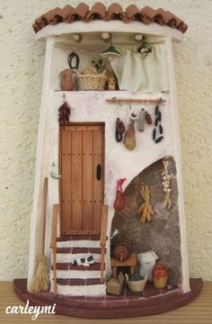 Pottery Houses, Ceramic Houses, Cactus Candles, Doll House Plans, Doll House Crafts, Tuile, Tile Crafts, Box Houses, Miniature Houses
