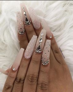 42 Beautiful Acrylic Coffin – Ballerina Nails Design Ideas This Summer - Page 20 of 42 - Fashionsum Bling Acrylic Nails, Glam Nails, Best Acrylic Nails, Rhinestone Nails, Bling Nails, Acrylic Nail Designs, Stiletto Nails, Bling Nail Art, Acrylic Nails Coffin Ballerinas
