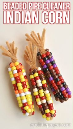 This beaded pipe cleaner Indian corn craft is SO FUN! And it's so simple to make. All you need are two simple supplies that you can usually find at the dollar store. This is such a fun and easy kids craft and a super fun Thanksgiving activity. It's a great craft for October or fall/autumn in general. I love how realistic they end up looking!