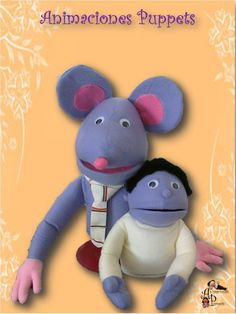 Títere Rata, de 50 cm, color lila (código RAT-34)