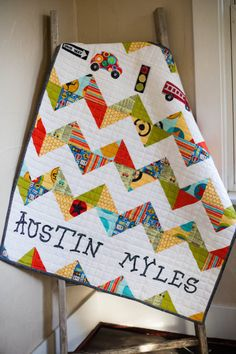 Chevron Personalized Modern Baby Quilt Blanket by TheQuirkyQuiltr