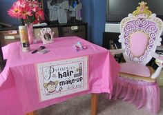 A Princess Hair and Make-Up Station for a Princess birthday party! From www.craftyparty.webs.com Love it!