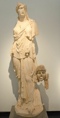 Muse with mask. From theater. Late 1st c. BCE