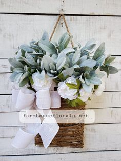 """This gorgeousBeautiful White Freesia Ranunculus \ Lambs Ear Door Hanger Basket is the perfect addition to your home decor. This hanging basket is perfect for weddings, parties, birthdays or just for everyday decor and more!Approximately 24"""" T x 19"""" W Front Door Decor, Wreaths For Front Door, Door Wreaths, White Ranunculus, Anemones, Pink Peonies, Yellow Roses, Pink Roses, Wedding Door Decorations"""