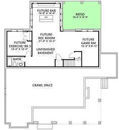 lower level — Modern Farmhouse with Matching Detached Garage - plan # (Architectural Designs) New House Plans, Modern House Plans, Small House Plans, Porch Plans, Garage Plans, White Farmhouse Exterior, Farmhouse Floor Plans, Garage Interior, Roof Detail