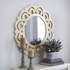Ivory Ornate Round Mirror