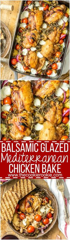 "Balsamic Glazed Mediterranean Chicken Bake is our favorite ""dump and bake"" casserole! Throw everything together and cook, SO EASY! All the best flavors of the Mediterranean in one easy chicken recipe! (all recipes chicken) Mediterranean Chicken Bake, Mediterranean Diet Recipes, Mediterranean Dishes, Carne, 12 Tomatoes Recipes, Healthy Potato Recipes, Cauliflower Recipes, Potatoe Casserole Recipes, Keto Casserole"