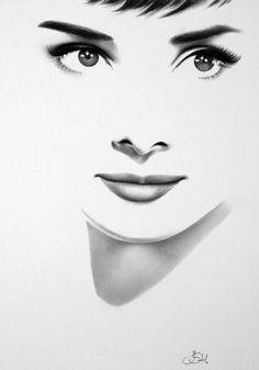 Audrey Hepburn original pencil drawing by Ileana Hunter