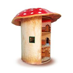 The whimsical toadstool is actually a revolving dollhouse with three floors. Amazing!