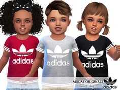 The Sims 4 Adidas Originals Tees For Toddlers The Sims 4 Kids, Toddler Cc Sims 4, The Sims 4 Bebes, Sims 4 Toddler Clothes, Sims 4 Cc Kids Clothing, Sims 4 Children, Babies Clothes, Children Clothing, Girl Clothing