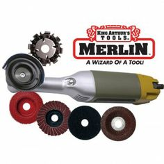 "Merlin®""The World's Smallest Chain Saw"" is a miniature woodcarving set from King Arthur's Tools that features an eight-tooth saw chain that's only two inches in diameter. This set includes contains a long neck angle grinder and five different accessories in a molded case."
