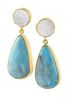 Nina Nguyen G4005E-TRQ, Turquoise mad White Druzy Dangle Earrings set in 22KT yellow gold vermeil