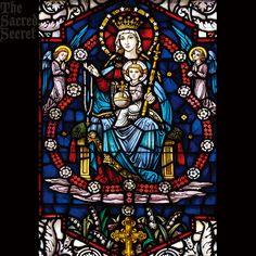 天の女王聖母子のステンドグラス風サンキャッチャーの輸入通信販売