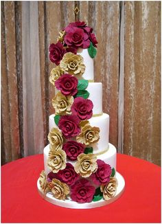Gold and Red rose wedding cake  - Cakes by Beth