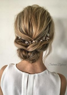 simple loose low updo wedding hairstyles ideas #weddinghairstyles