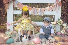 Easter mini session with live bunny rabbit. Baby boy and toddler girl look so adorable all dressed up for Easter! Photo by 'Precious Memories by Michelle'